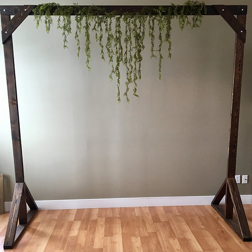 Handmade Timber Arch w/Hanging Moss Greenery