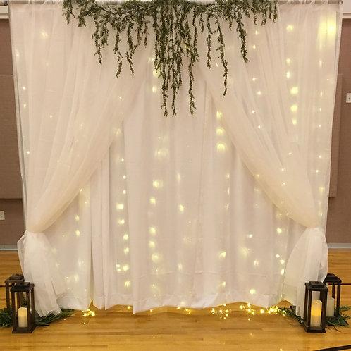 Sheer Fairy Lights Moss Dbl Panel Pipe & Drape
