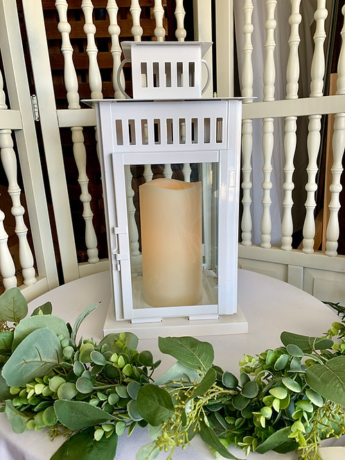 "Large White Borrby Lantern w/9"" LED Candle"