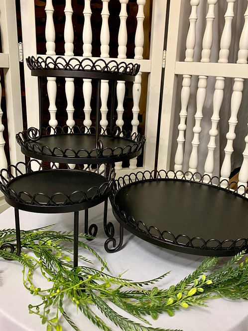 4 Pc Black Scalloped Edged Stackable Stand