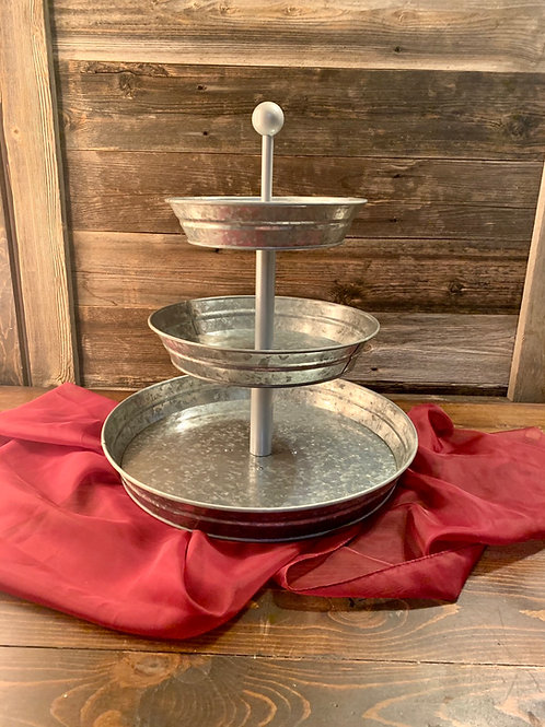 3 tier tin round stand round handle