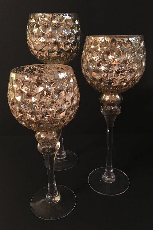 Gold Mercury Honeycomb Goblets