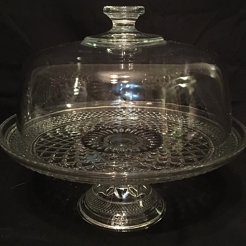 Vintage Glass Cake Stand w/Dome
