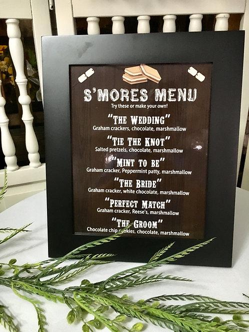 S'mores Menu Sign