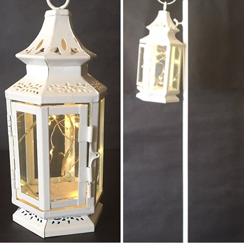 Fairy White Lantern w/freestanding White Shepherd Hook