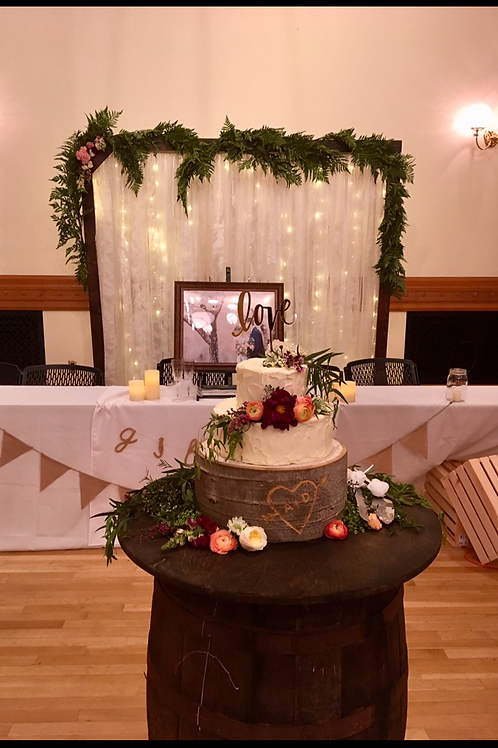 Cake Barrel Tale w/ Bride and Groom Table Timber Arch/ Shabby Chic Lace Backdrop