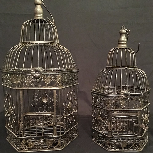 Black Bird Cages Set of 2