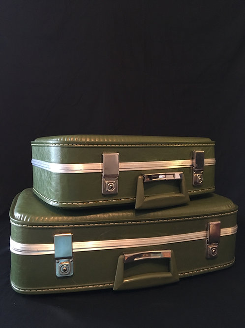 Small and Medium Vintage Green Suitcases