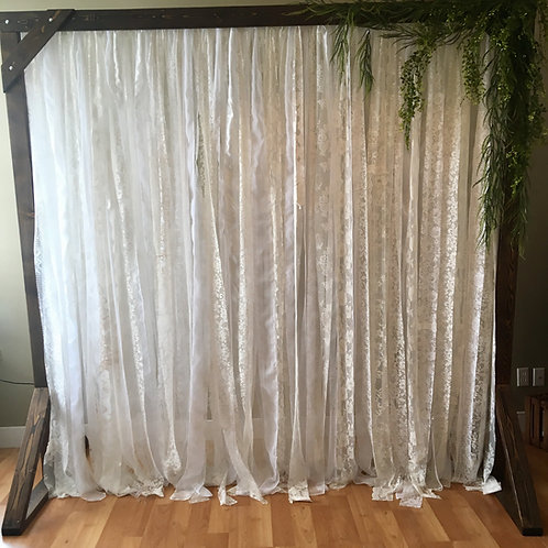 Shabby Chic Lace/Greenry Swag Fairy Lights Timber Arch