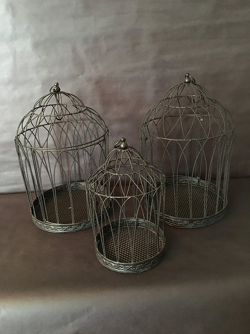 Black Wire Bird Cages Set of 3