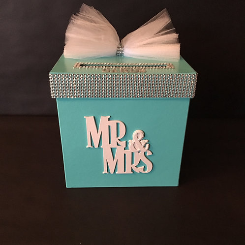 "Tiffany Blue""Mr & Mrs"" Card Box"