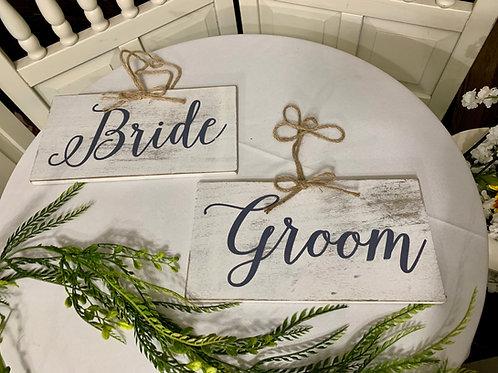 Bride & Groom Hanging Signs