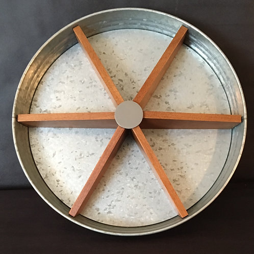 Galvanized Wood Turntable Serving Tray