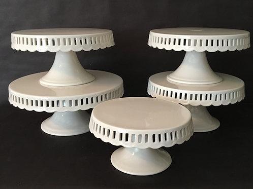 Ceramic Ribbon White Cake Stand Set of 5
