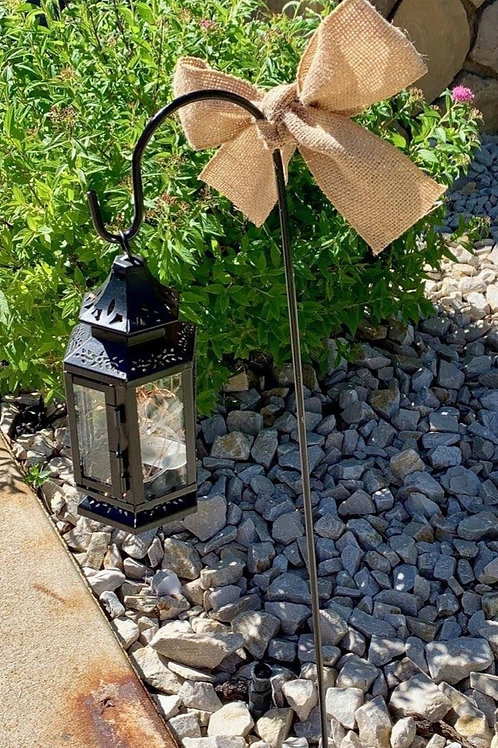 Black Shepherd Hook w/Black Stagecoach Lantern and Fairy Lights