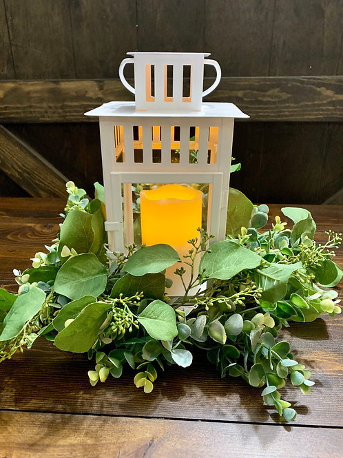 "White Borby Lanterns w/ 6"" LED Candle"