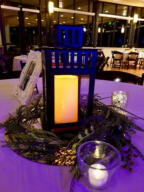 "Borrby Black Lantern w/ 6"" LED Candle"
