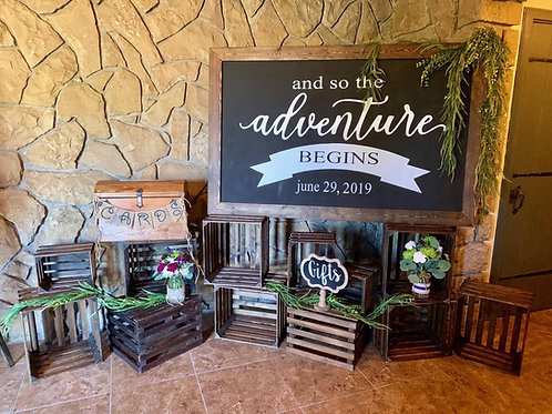 """Crate Gifts Area with """"and so the Adventure..."""" Sign Custom Date Package Option"""