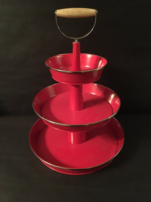 Red 3 Tier Serving Stand