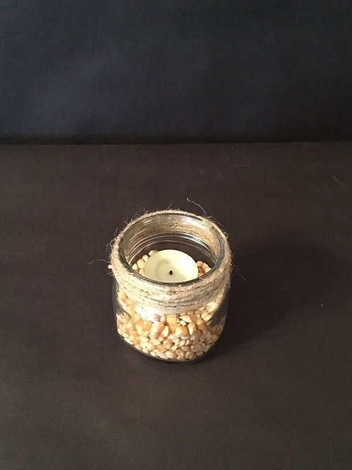Half Pint Jar Wrapped w/Twine/Corn/LED Candle