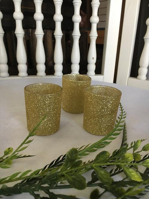 Glitter Gold Votives w/led tea light
