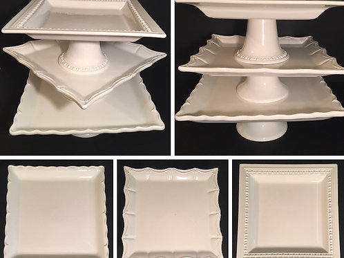 Square White Cake Stands Set of 3