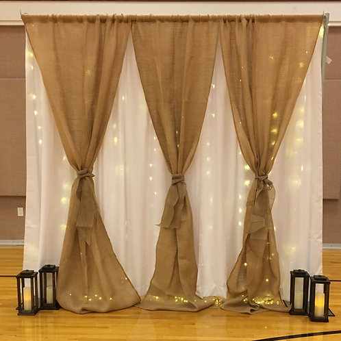 White Drape/Burlap and Fairy Lights and Ties