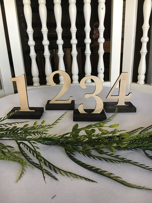 Wood Cut Out Table Numbers 1-15