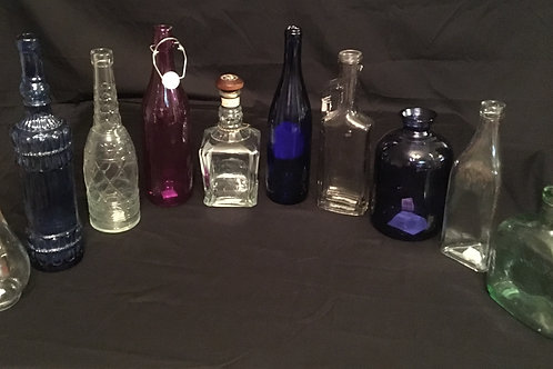 10 Piece Blue/Purple/Clear Assorted Bottles