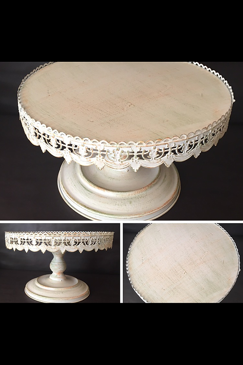 "16""White w/Green and Rust Accents Cake Stand"