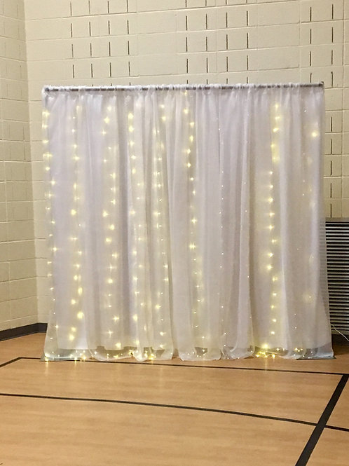 Sheer Fairy Light Dbl Panel Pipe & Drape