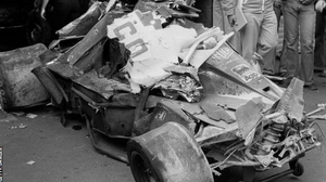Niki laudas Ferrari 312T2 after the shunt at the Nurburgring