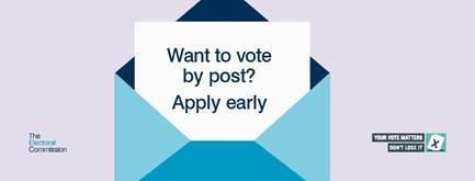 Register early for postal vote