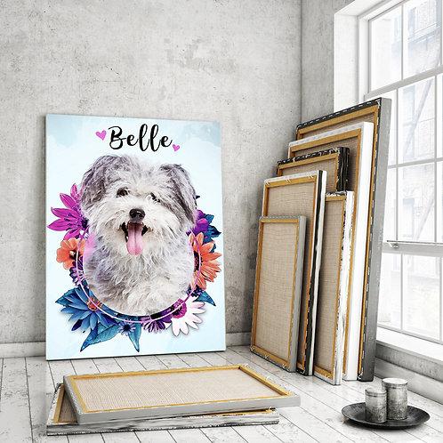 Custom Pet Watercolor Flower Canvas