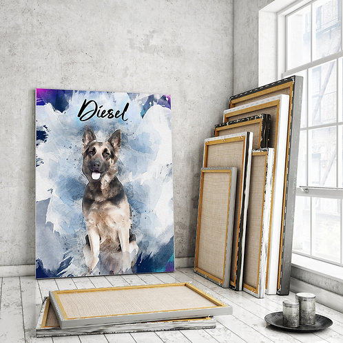 Custom Pet Watercolor Canvas