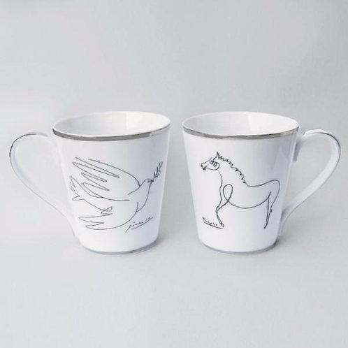 Pablo Picasso Horse and Dove Mug Set