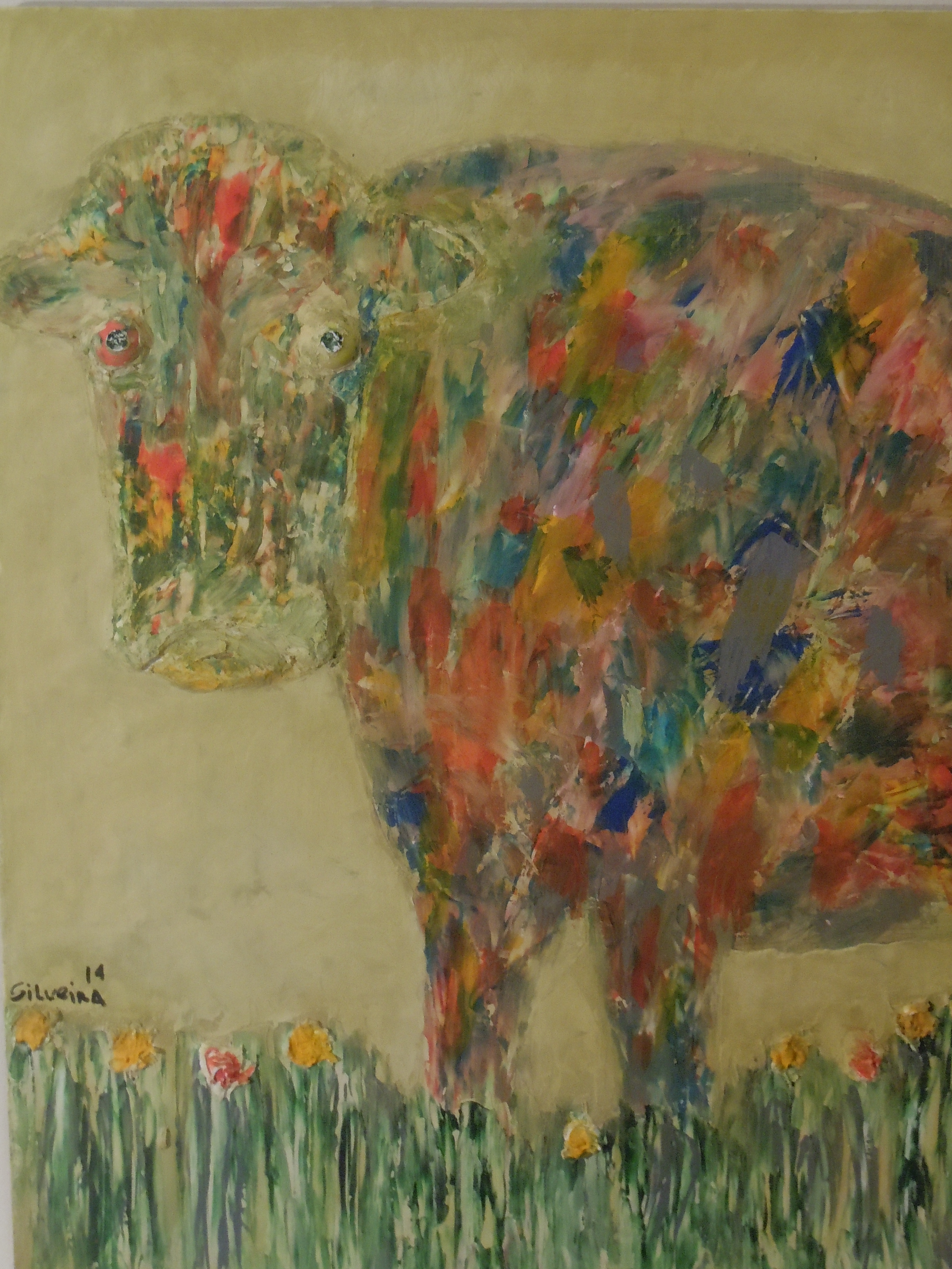 Cow at the garden      SOLD