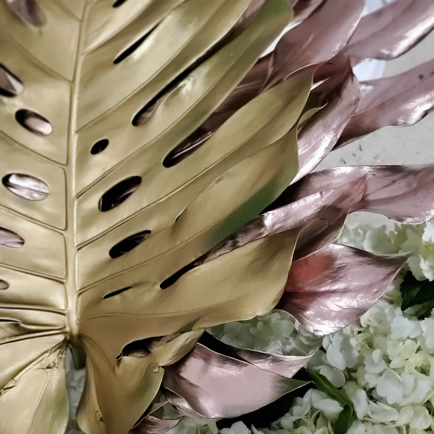 Giant palm leaves painted