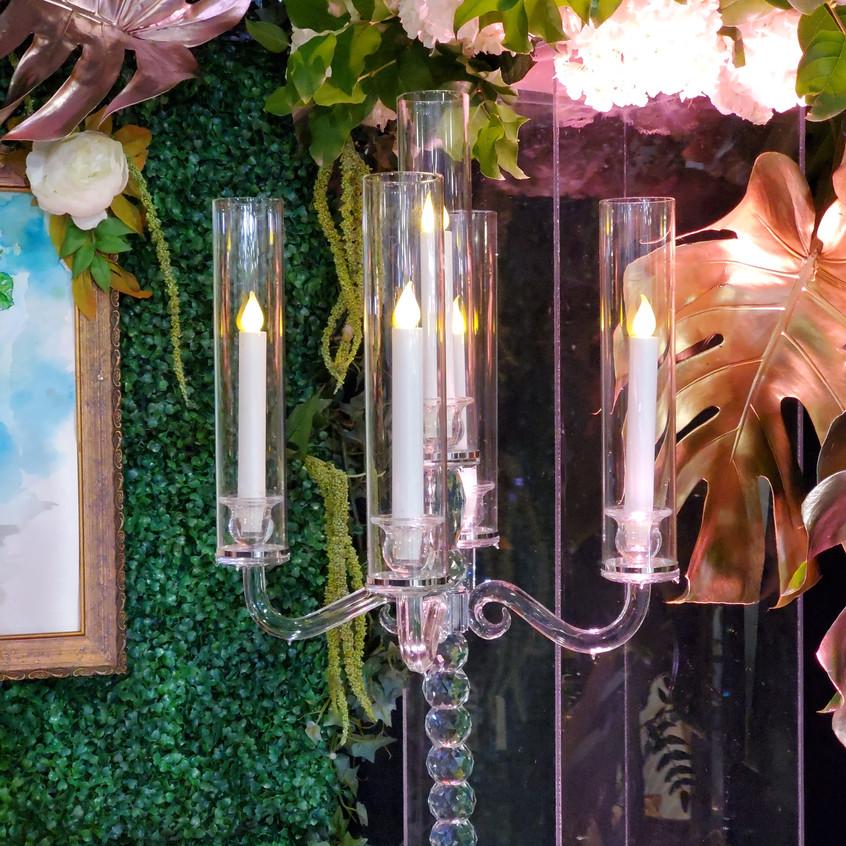 Glass candelabra wedding