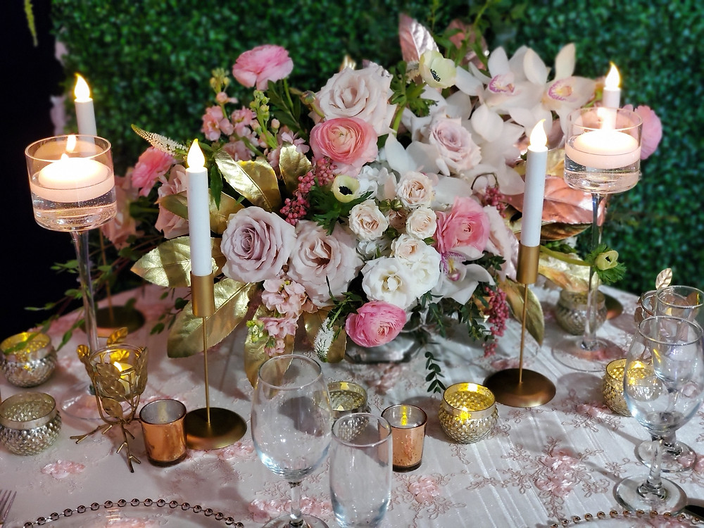 Blush gold centerpiece by Vivid Expressions