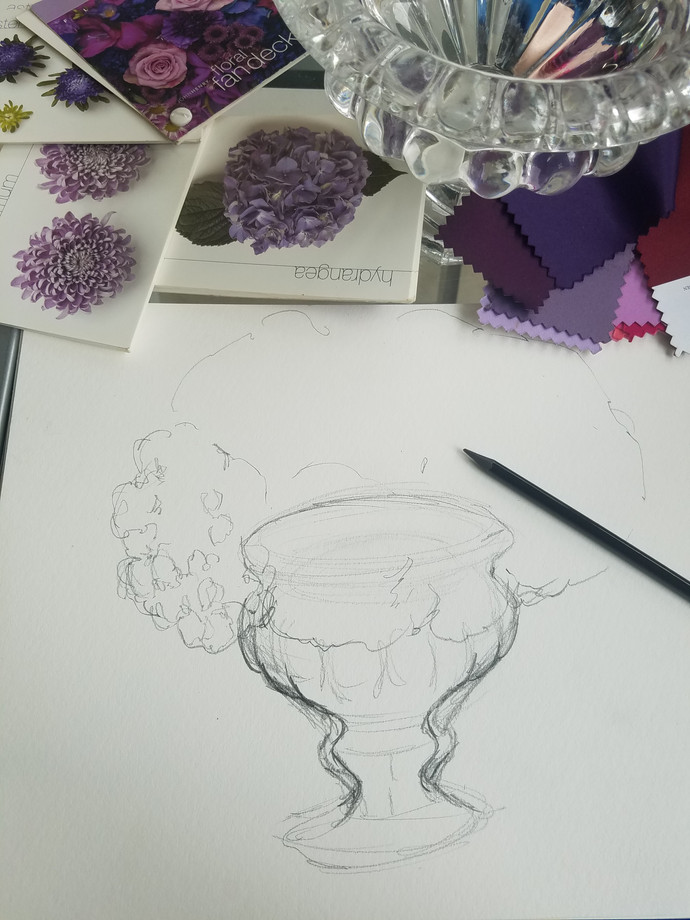 Behind the scenes - Concept to creation process: Purple, pearls and lace