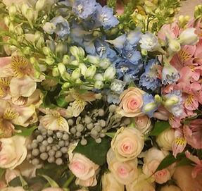 Fresh blush peach gray blue flowers Vivid Exressions roses blue delphinium