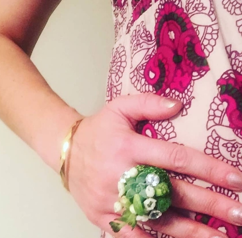 Fresh floral cocktail ring