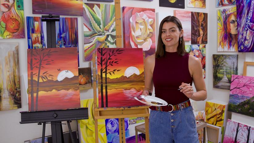 Jennifer Doehring teaching Virtual Paint Party
