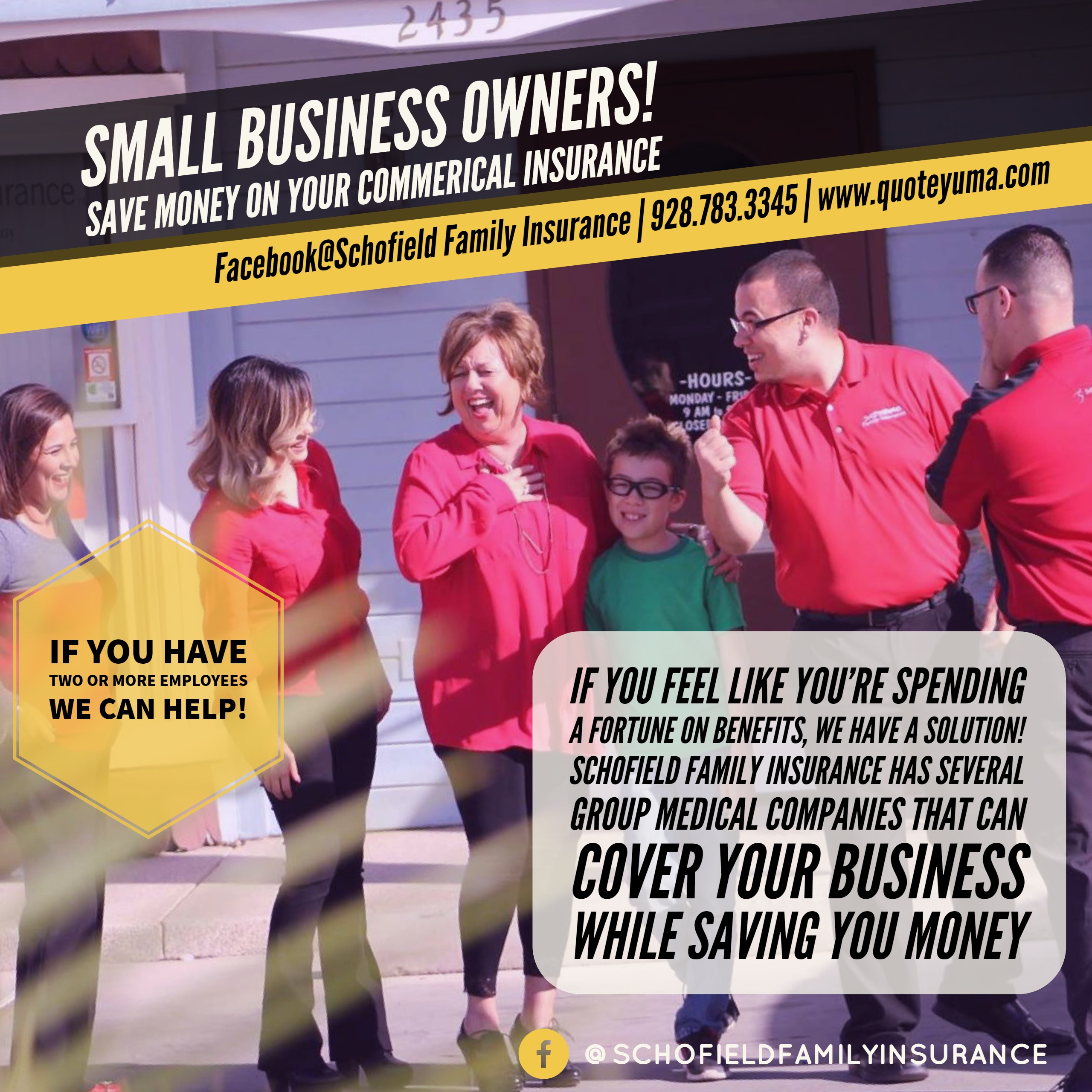 Schofield Family Insurance Small business owners press flyer 4