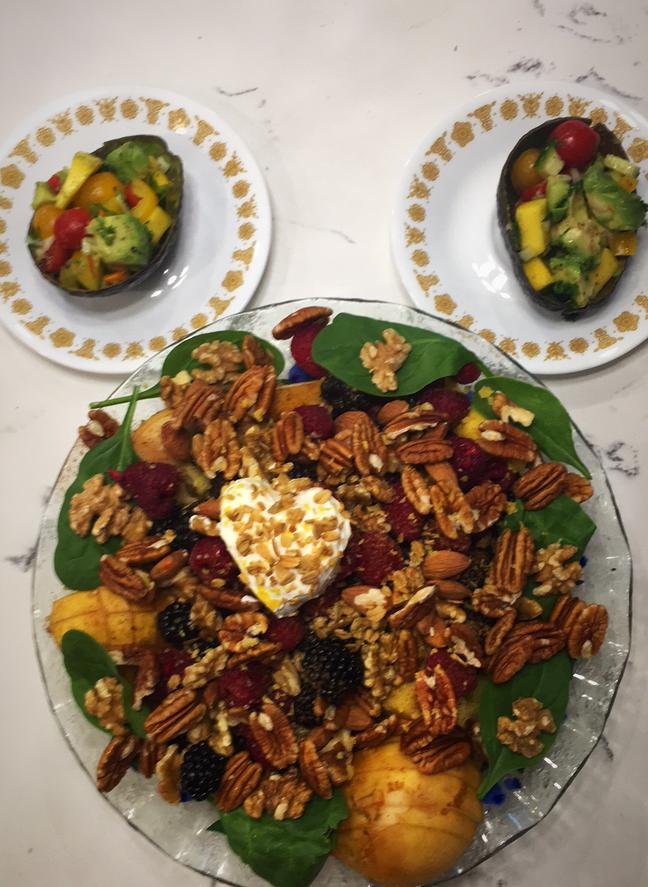 avocado salad and fruit salad