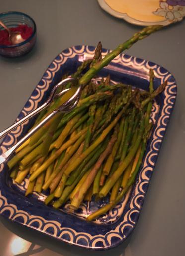 Dish of sautee Esparagus