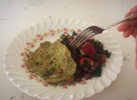 cilantro eggs with beans salad