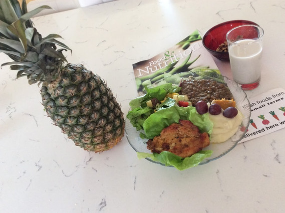 fruits, my plate and almond milk