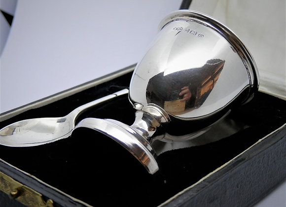 Second Hand  Christening Gift - Silver  Egg Cup & Spoon